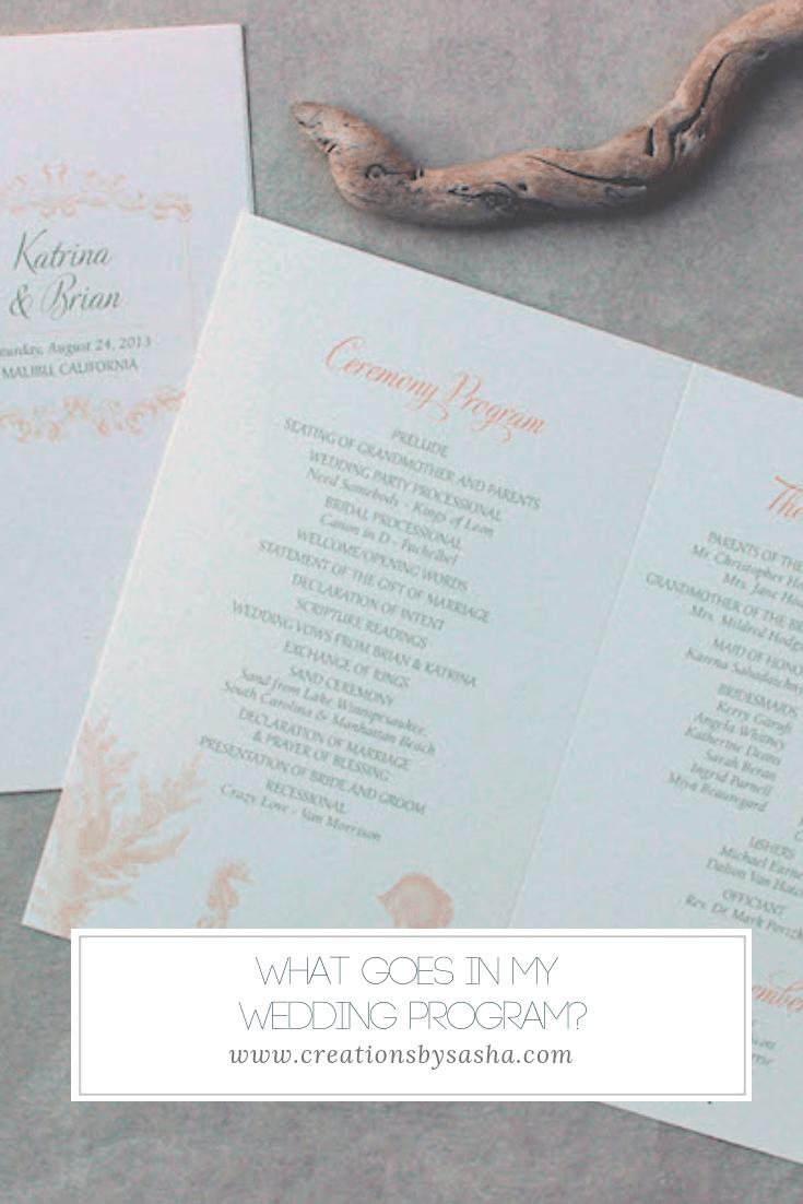 What Goes In My Wedding Program - www.by-sasha.com