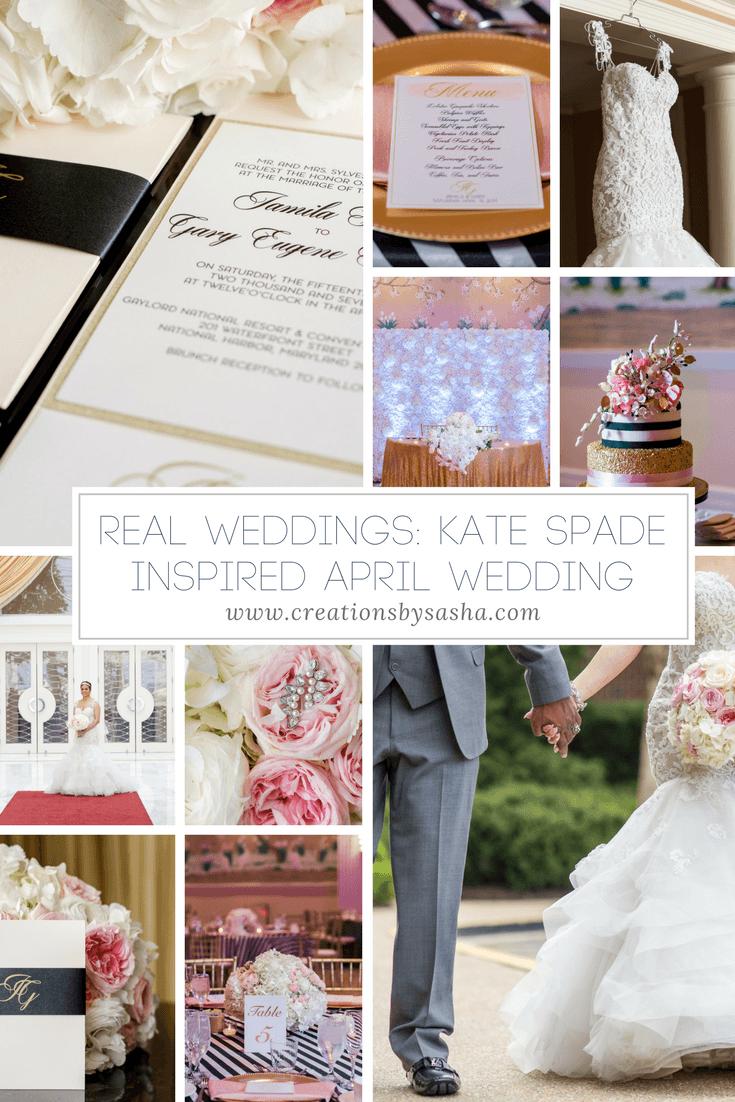 Kate Spade inspired wedding, pink and black wedding, national harbor wedding, dc wedding, april wedding