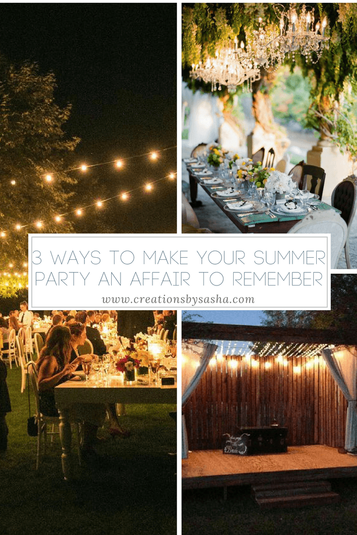 string lights, summer party, backyard party