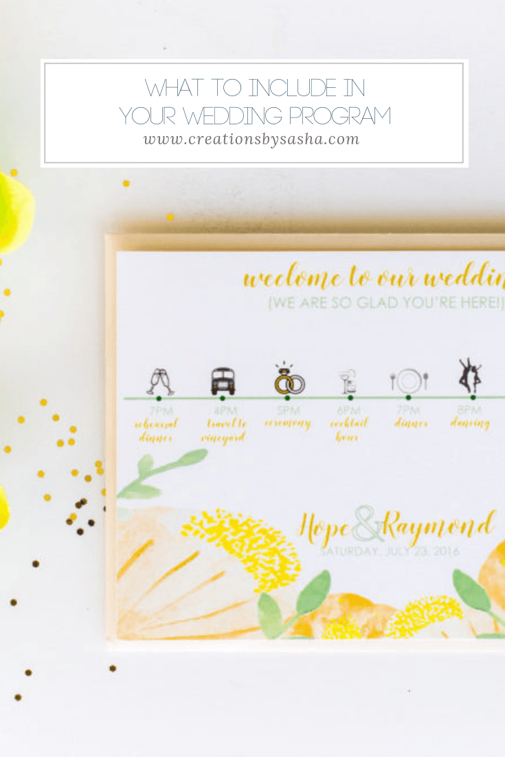 What to Include In Your Wedding Program - www.by-sasha.com