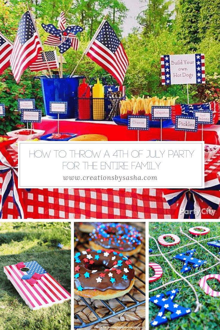 4th of july party ideas - food table, cornhole, donuts, tic tac toe - www.creationbysasha.com