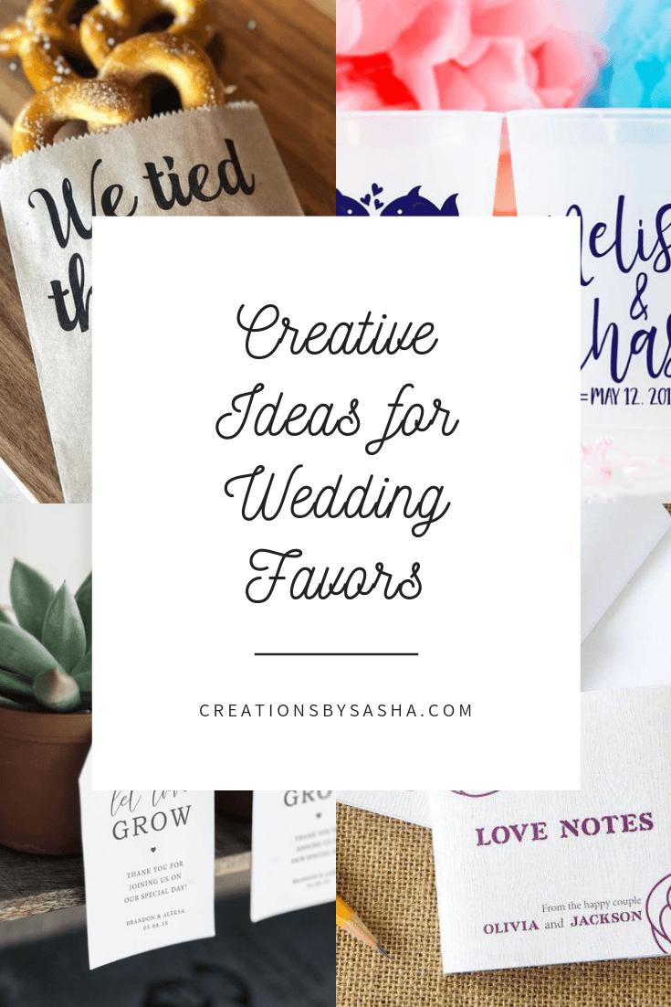 Blog post image - creative ideas for wedding favors, food favors, cup favors, plant favors, journal favors www.by-sasha.com