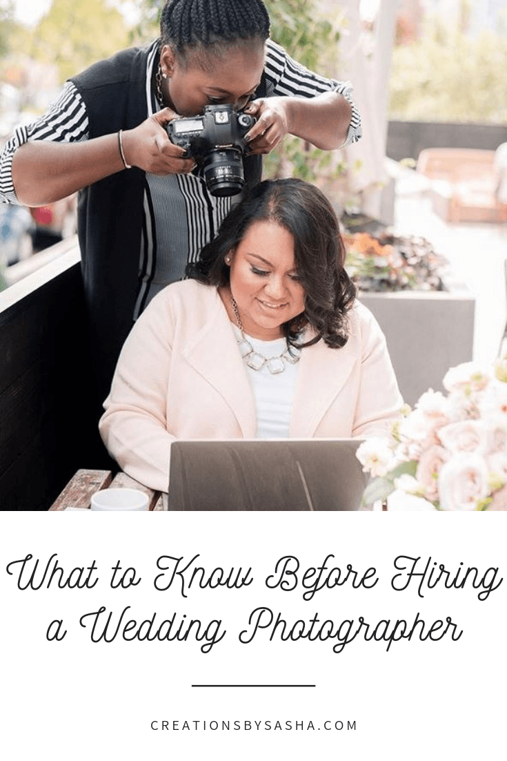 What to Know Before Hiring a Wedding Photographer Blog Post Image - Photographer taking a picture of woman on a computer
