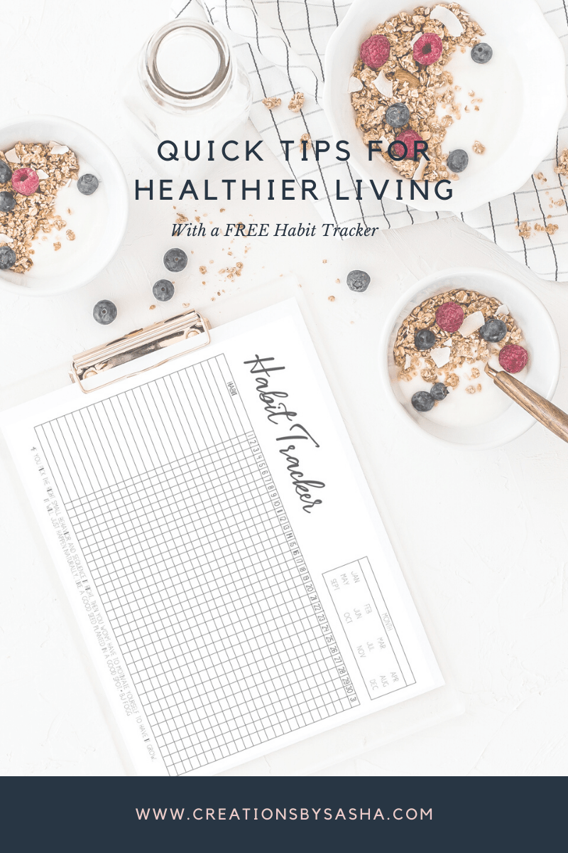 Granola in bowls with fruit on countertop - Quick Tips for Healthier Living (with FREE Habit Tracker) - www.by-sasha.com