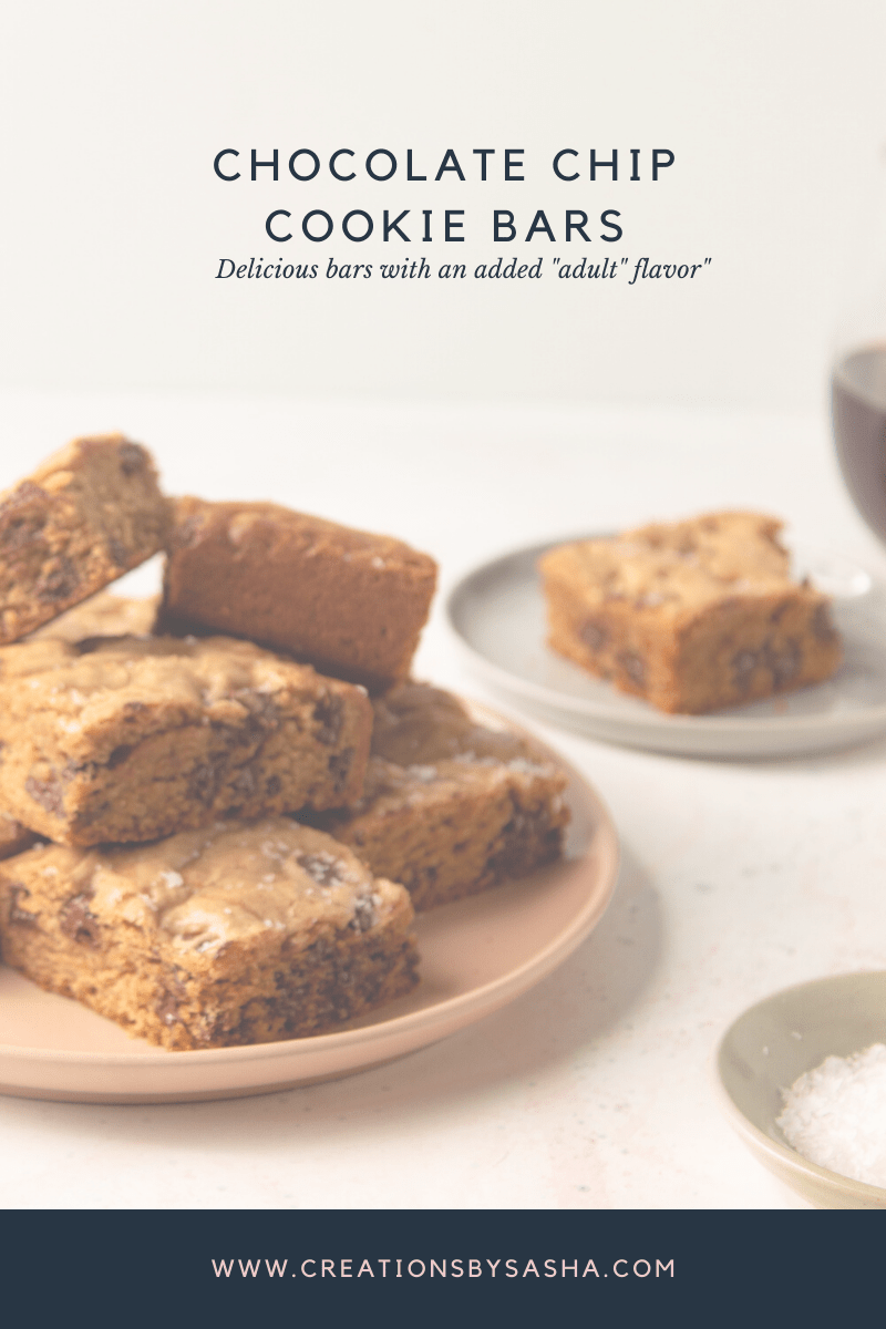 """Chocolate Chip Cookie Bars – With a Little """"Adult"""" Kick!"""